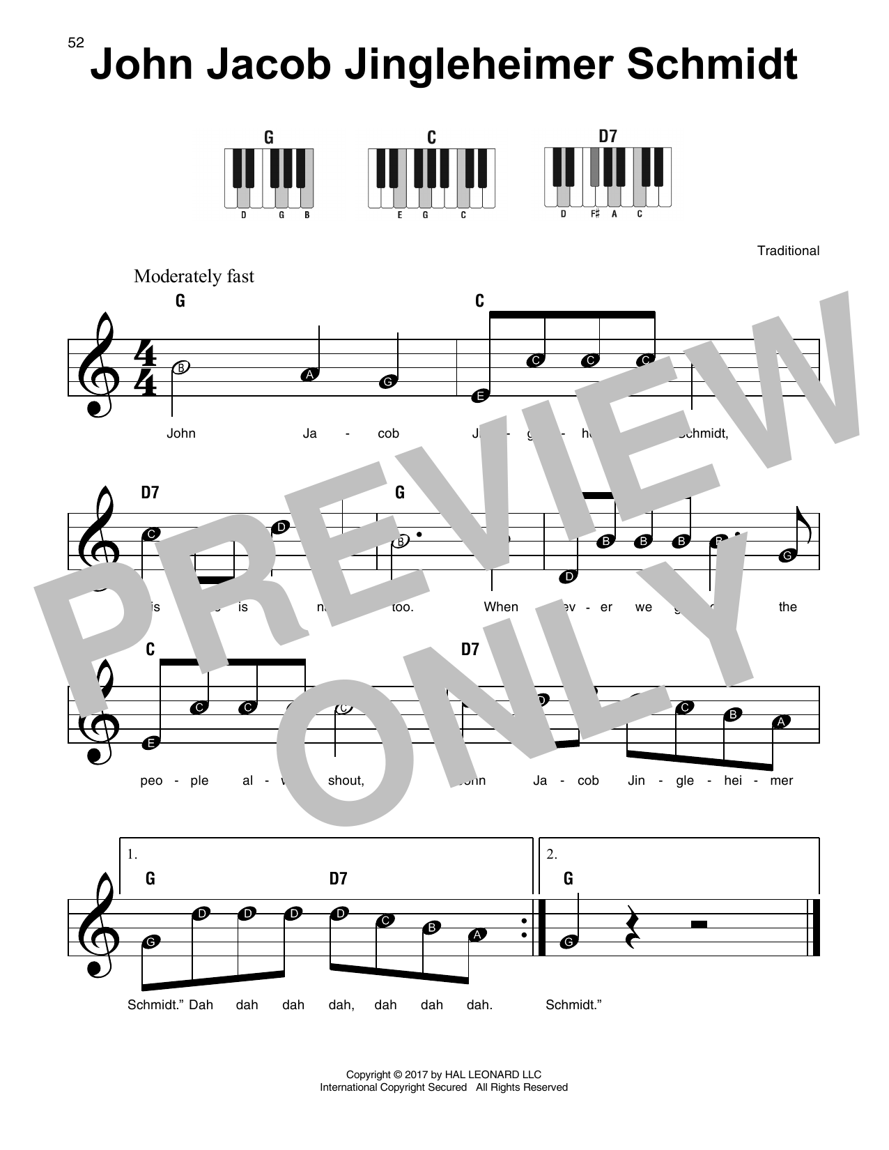 John Jacob Jingleheimer Schmidt Sheet Music