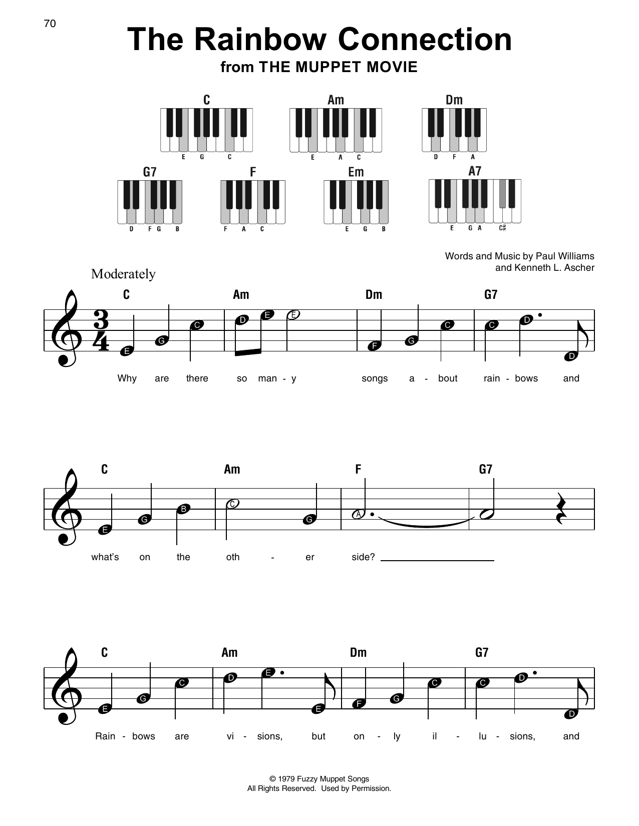 The Rainbow Connection Sheet Music Paul Williams Super Easy Piano