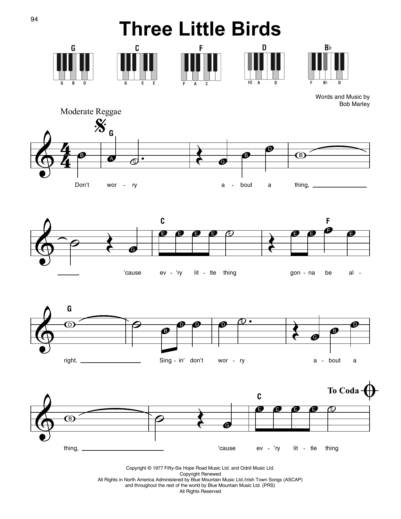 Three Little Birds Sheet Music