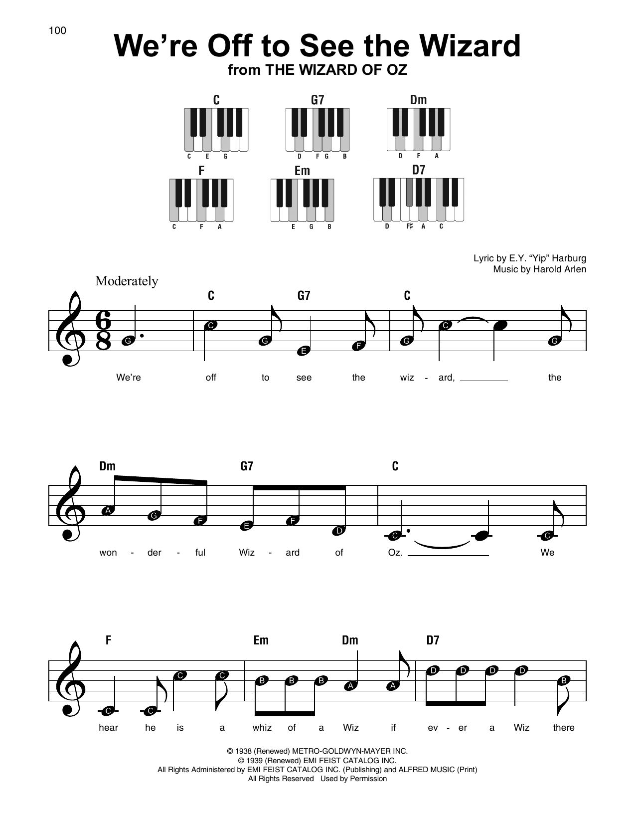 We're Off To See The Wizard (Super Easy Piano)