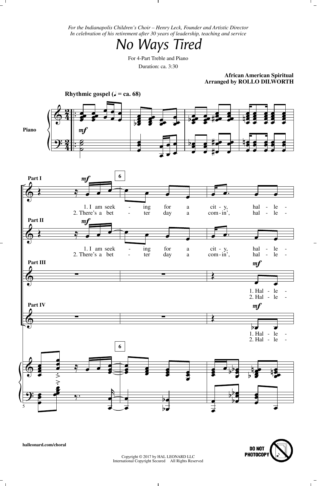 No Ways Tired (arr. Rollo Dilworth) Sheet Music