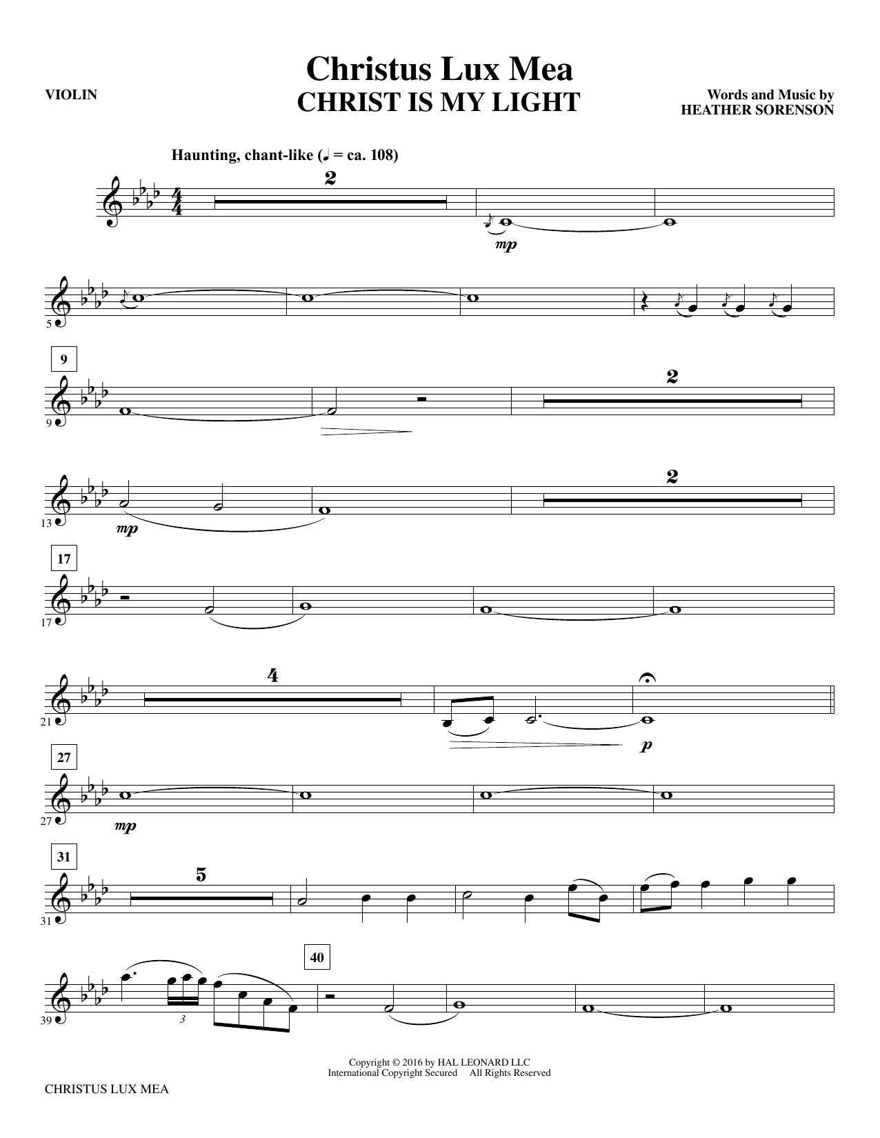 Christus Lux Mea - Violin Sheet Music