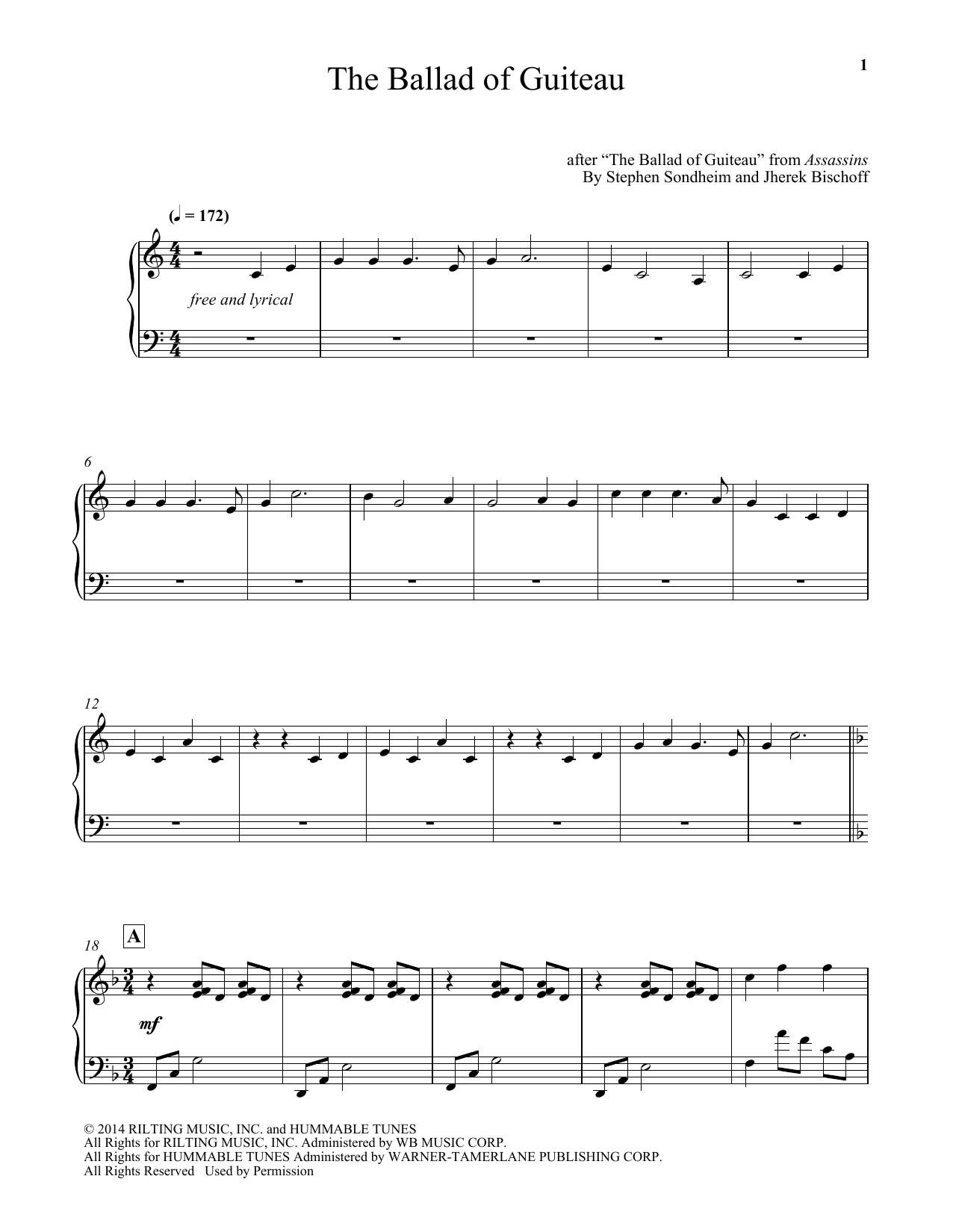 The Ballad Of Guiteau (arr. Jherek Bischoff) Sheet Music