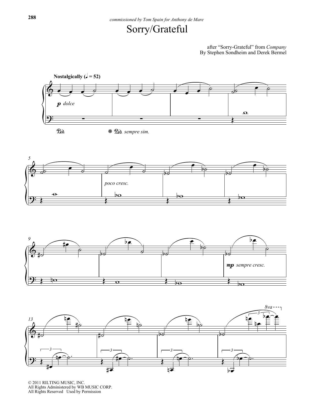 Sorry - Grateful (arr. Derek Bermel) Sheet Music