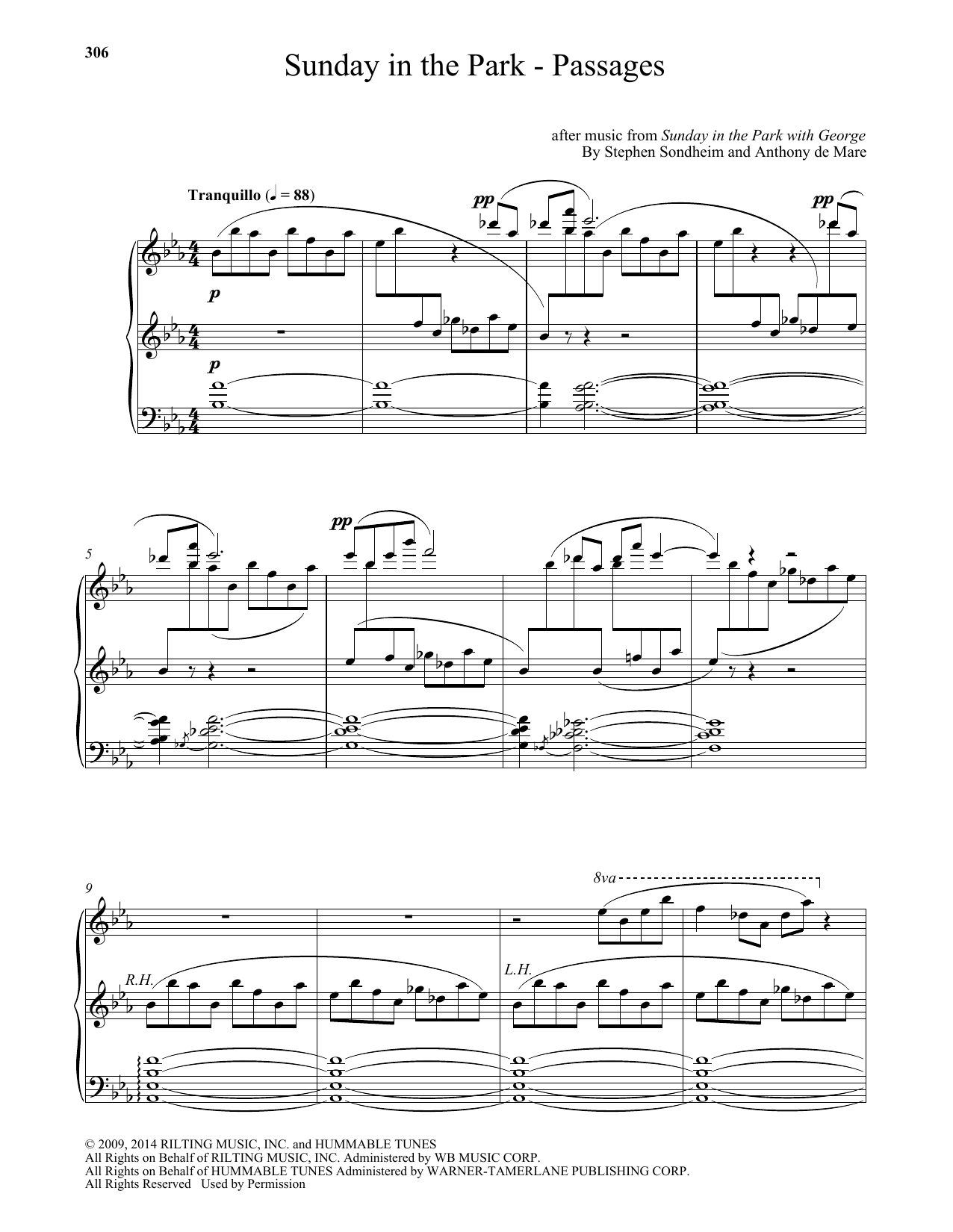 Sunday In The Park - Passages (arr. Anthony de Mare) Sheet Music