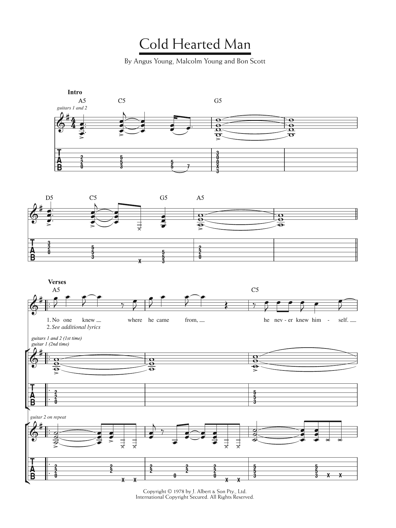 Cold Hearted Man Sheet Music