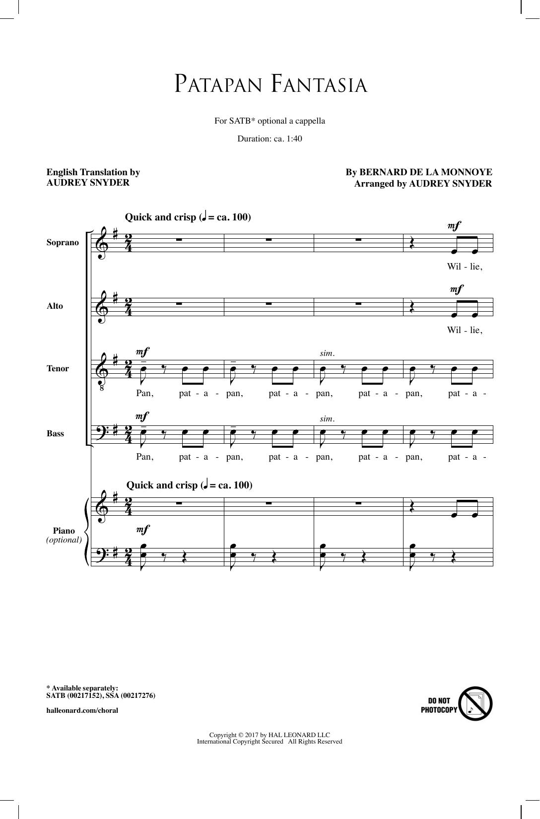 Patapan Fantasia Sheet Music