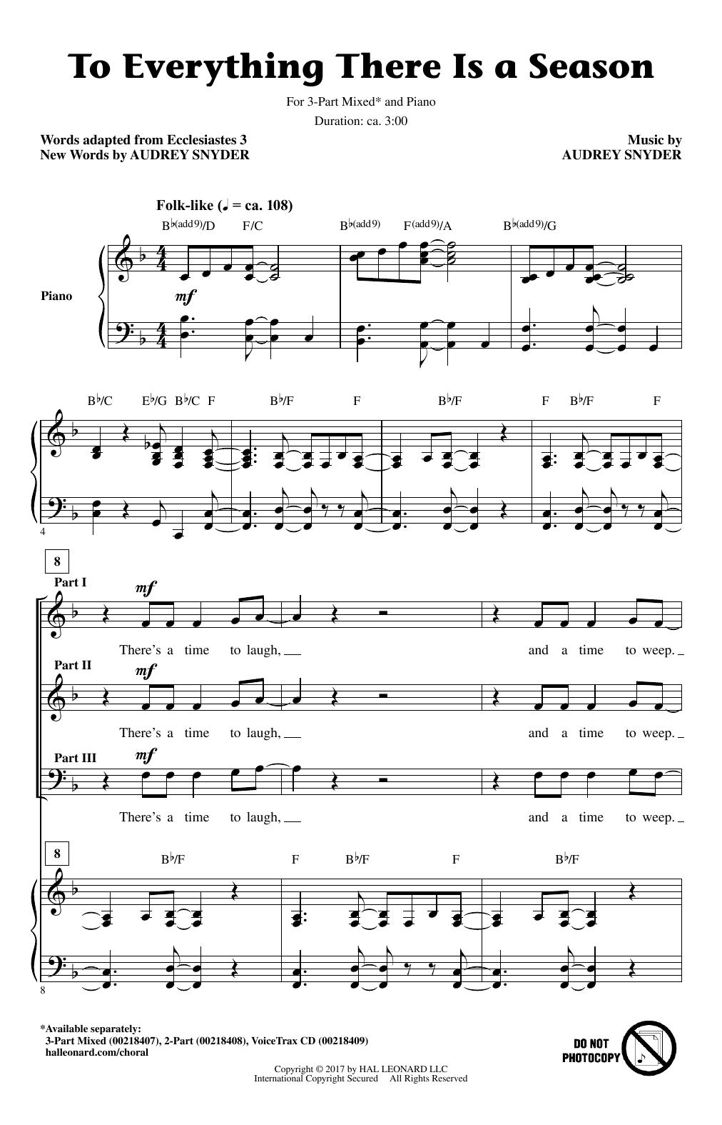 To Everything There Is A Season Sheet Music