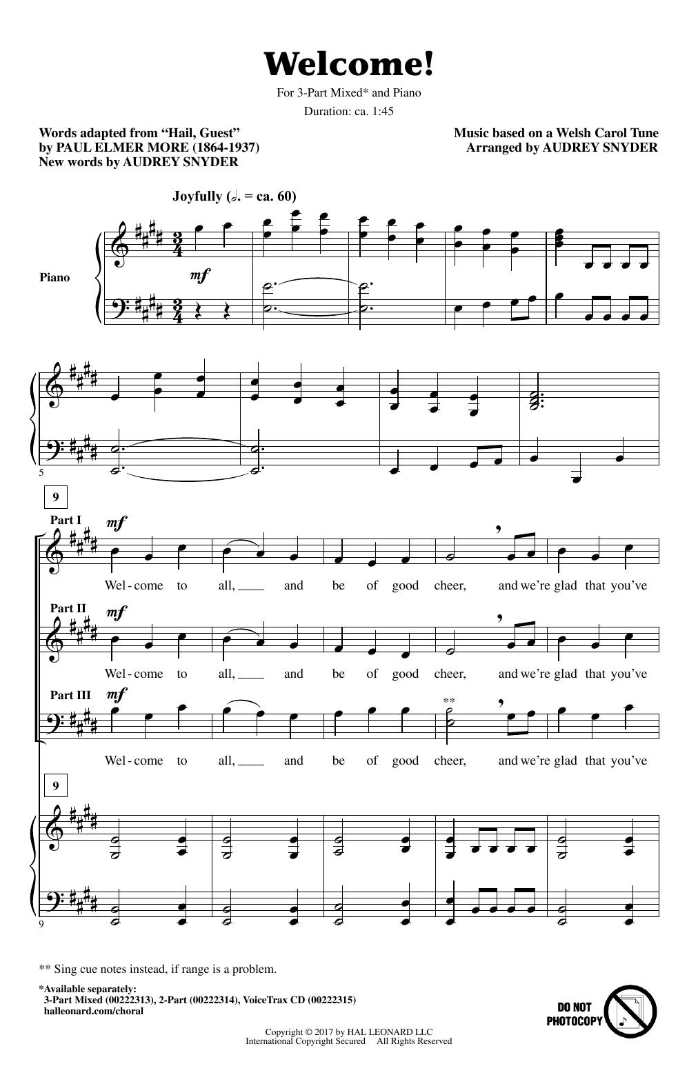 Welcome! Sheet Music