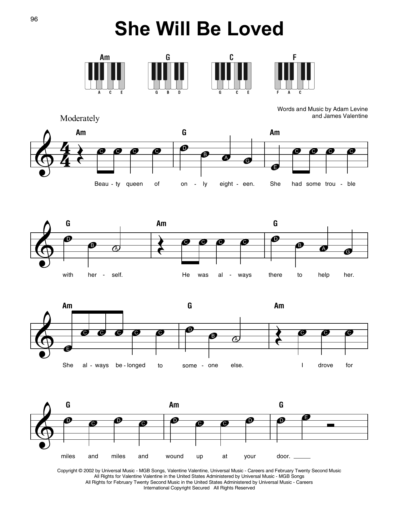 she will be loved piano sheet music pdf