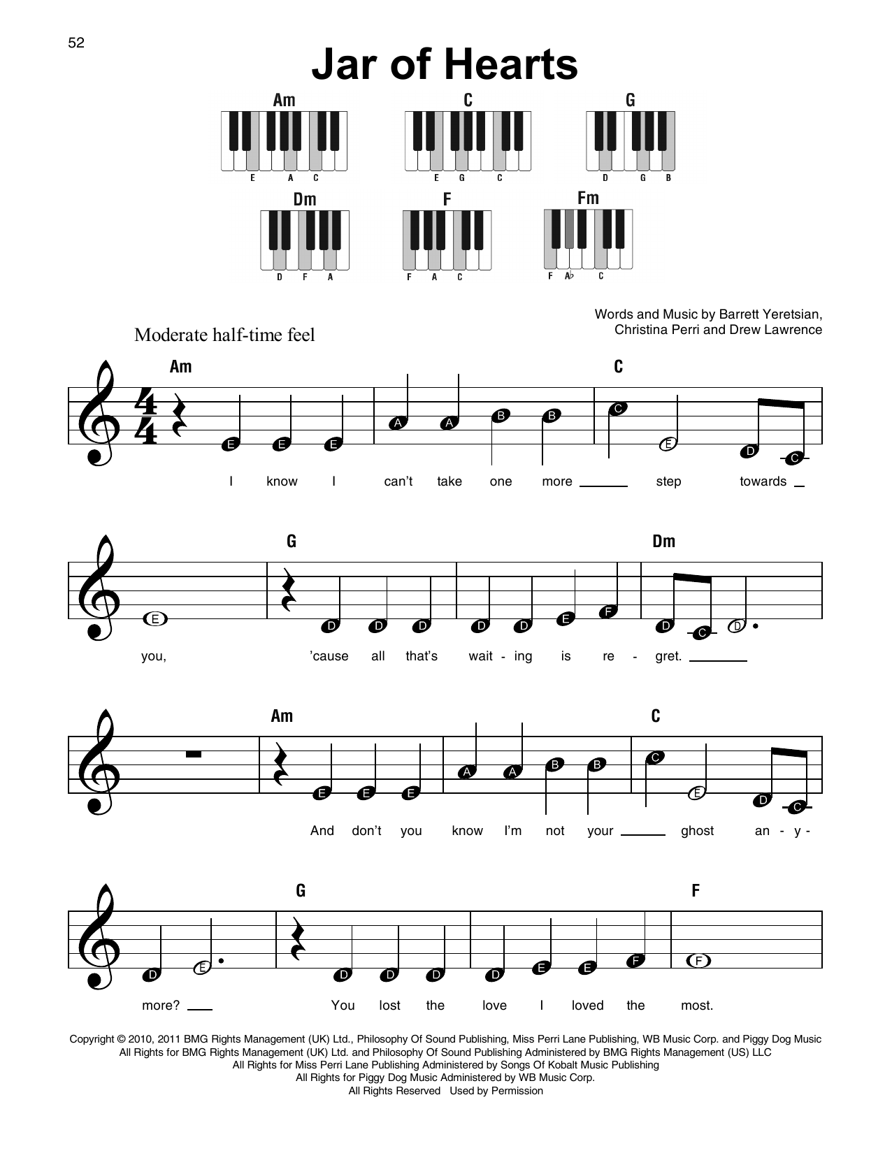 Jar Of Hearts Christina Perri Guitar Chords Piano Piano Chords