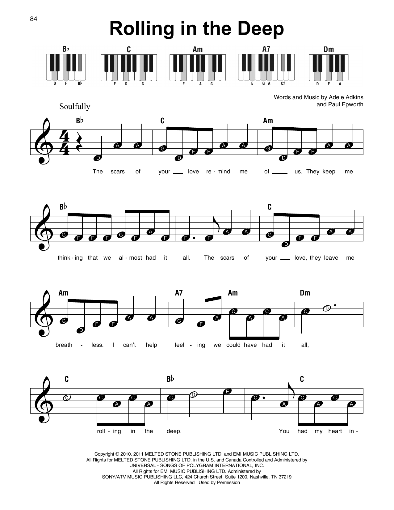 Rolling In The Deep | Sheet Music Direct Rolling In The Deep Songtekst