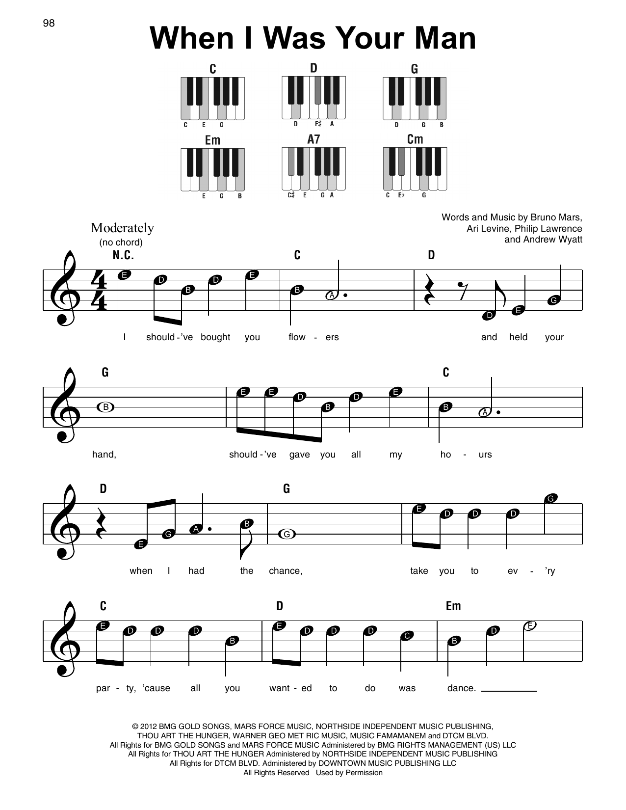 When I Was Your Man Sheet Music