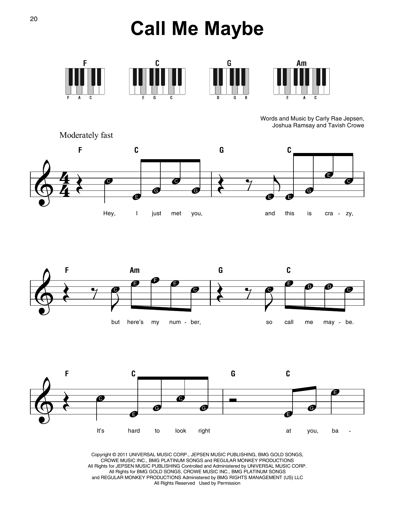 Xylophone Notes For Call Me Maybe Call Me Maybe | Sheet ...