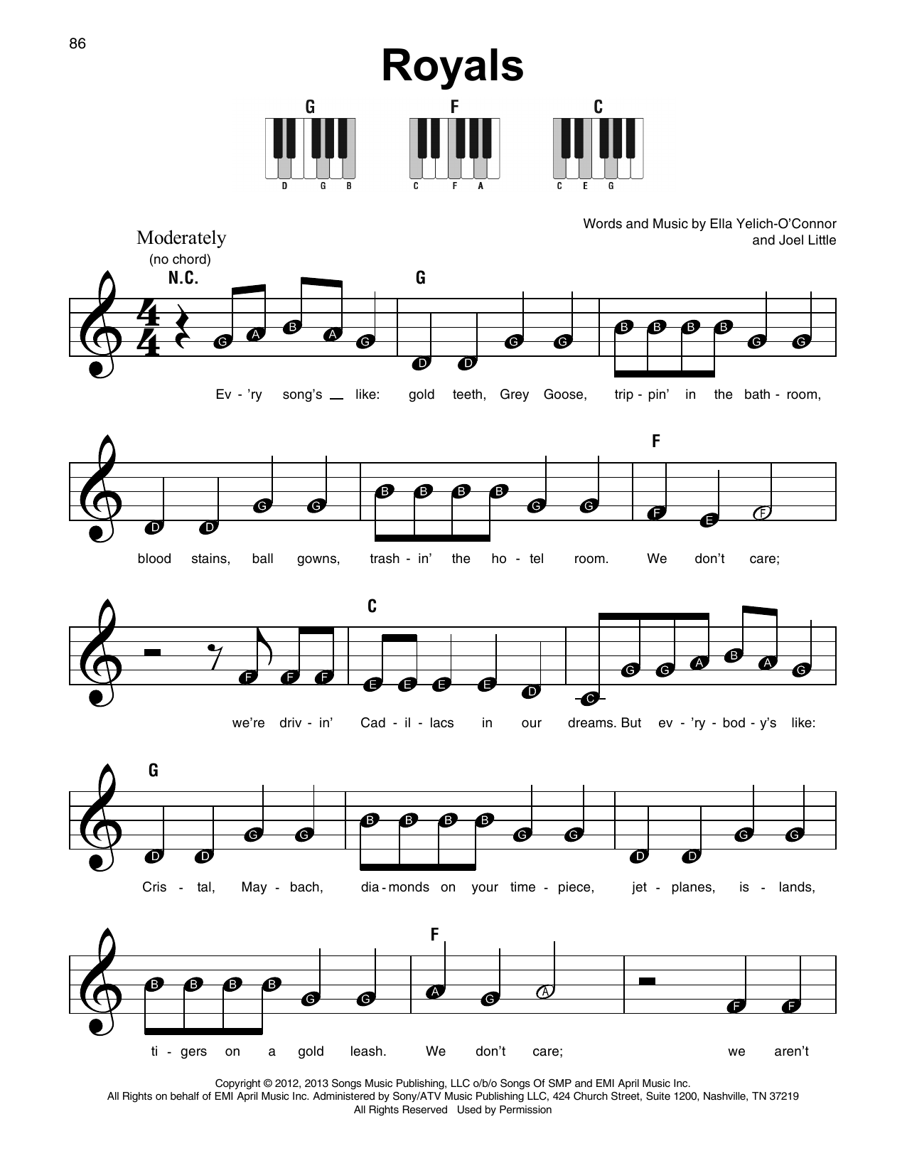 Royals sheet music by lorde super easy piano 179350 lorde royals super easy piano hexwebz Choice Image
