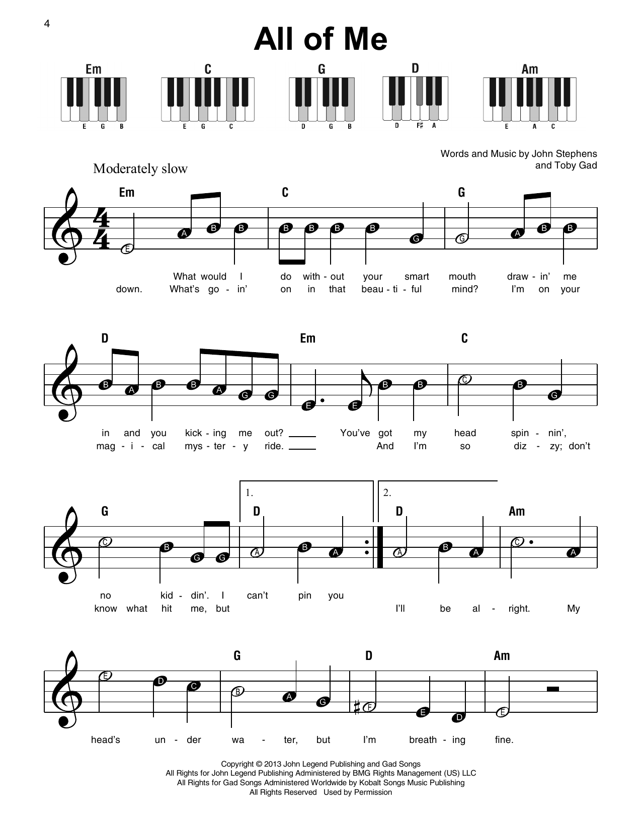 All of me sheet music by john legend super easy piano 179315 all of me sheet music john legend hexwebz Gallery