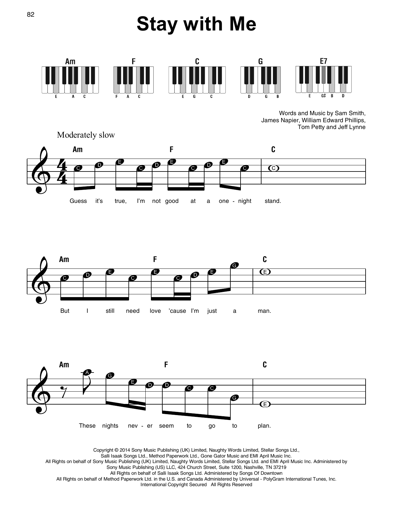 Stay With Me Sheet Music   Sam Smith   Super Easy Piano