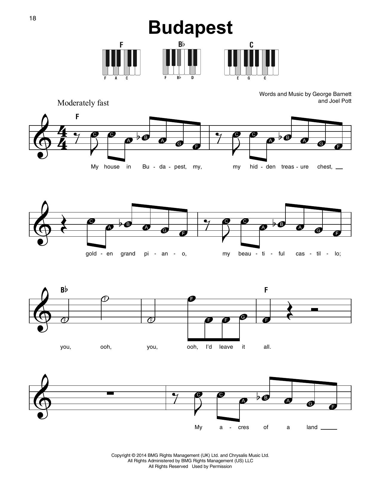 Budapest George Ezra Super Easy Piano