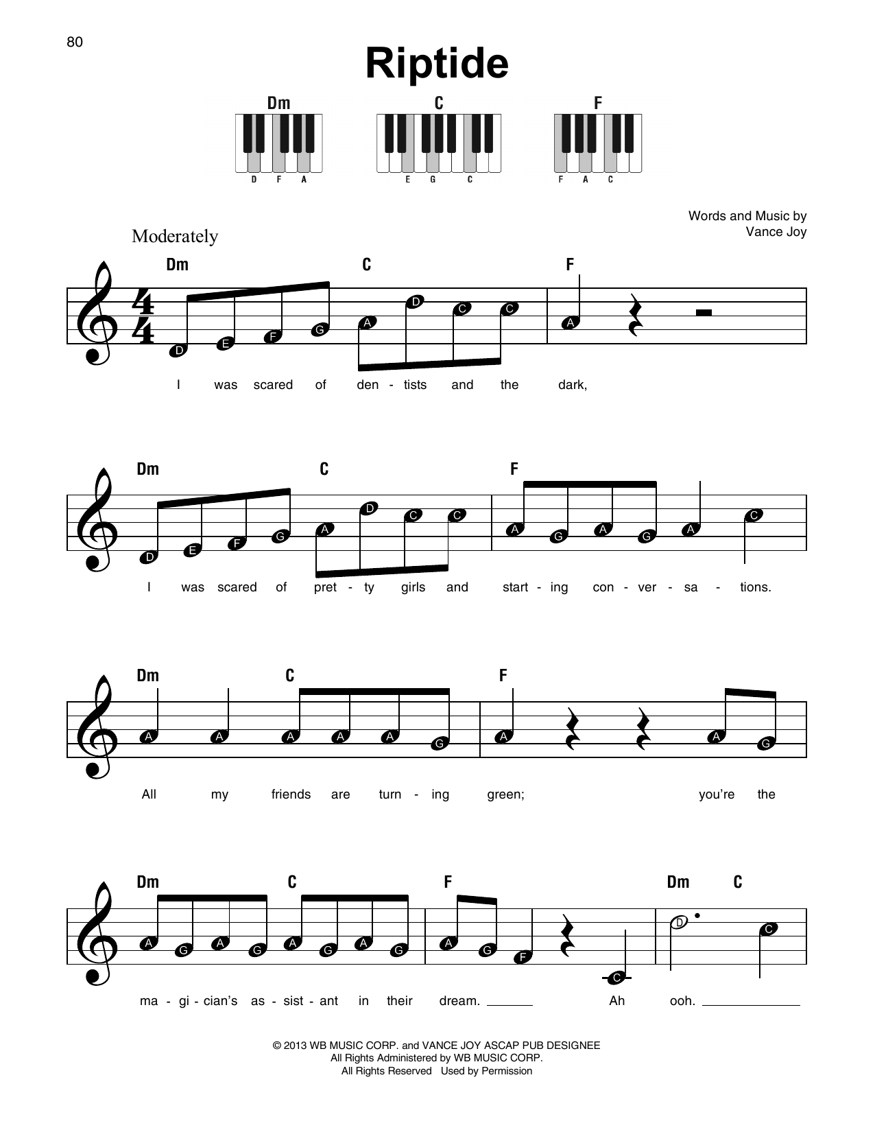 Riptide Guitar Chords With Pictures