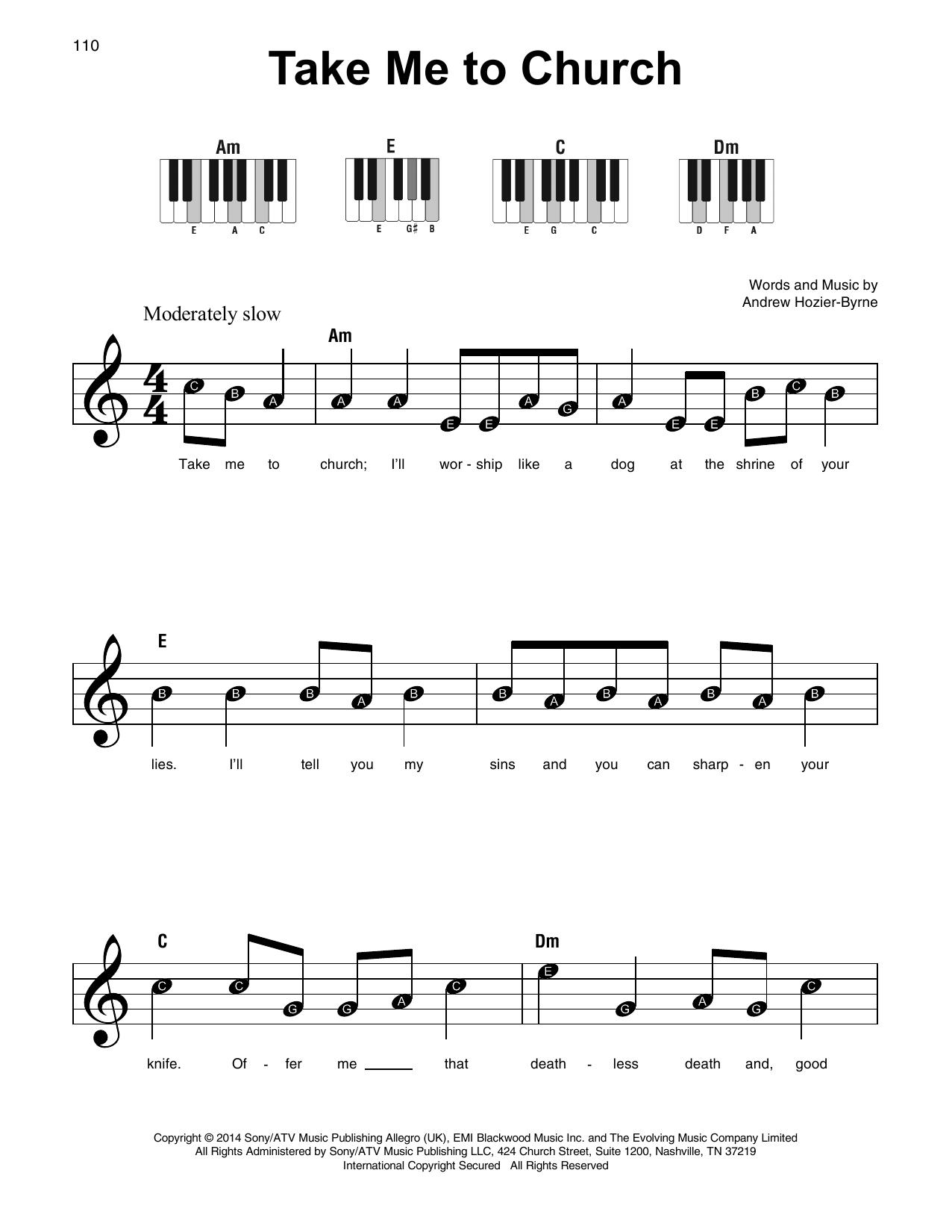 Take Me To Church by Hozier Piano, Vocal & Guitar Digital Sheet Music