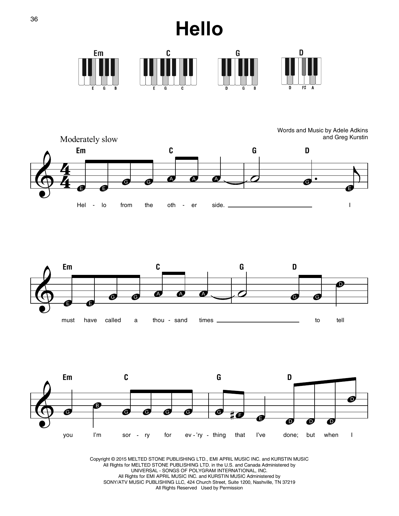 hello partition par adele piano super facile 179348