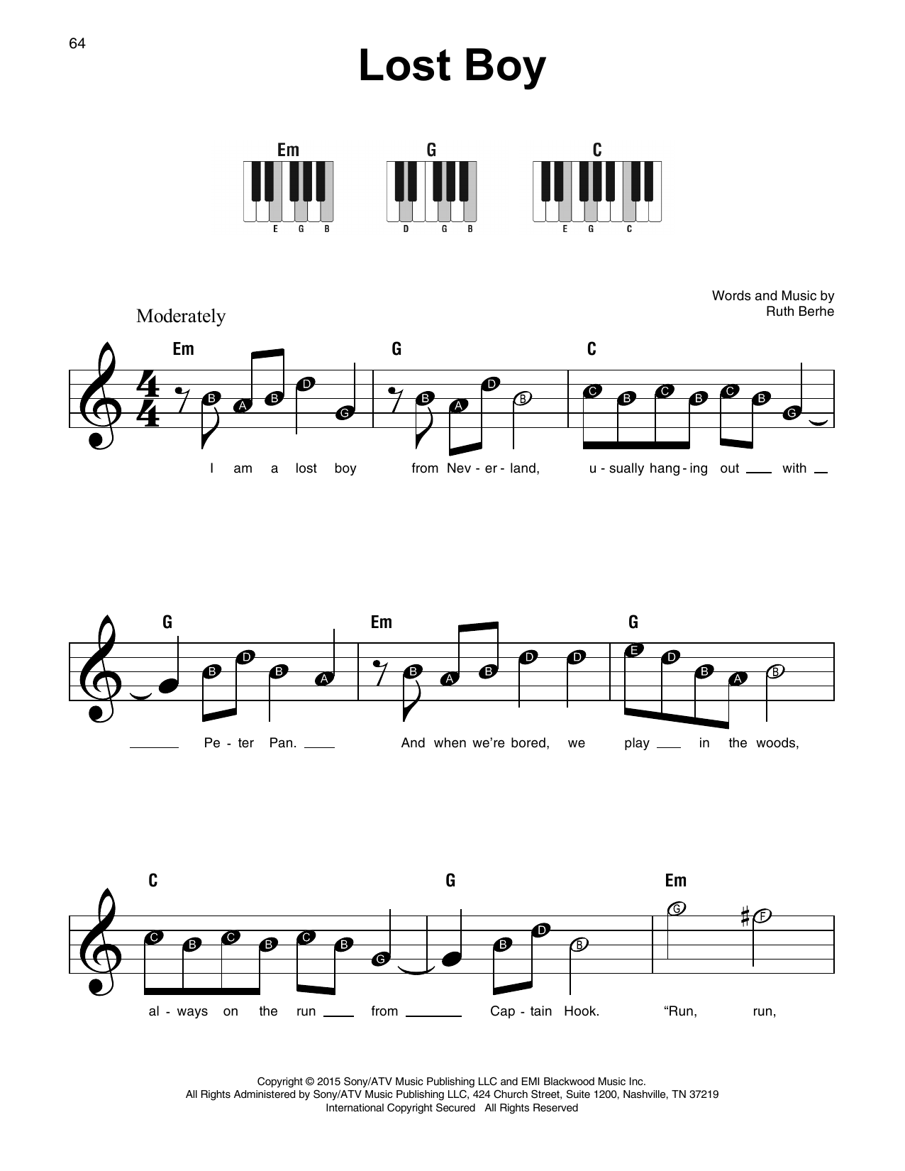 Lost Boy Sheet Music