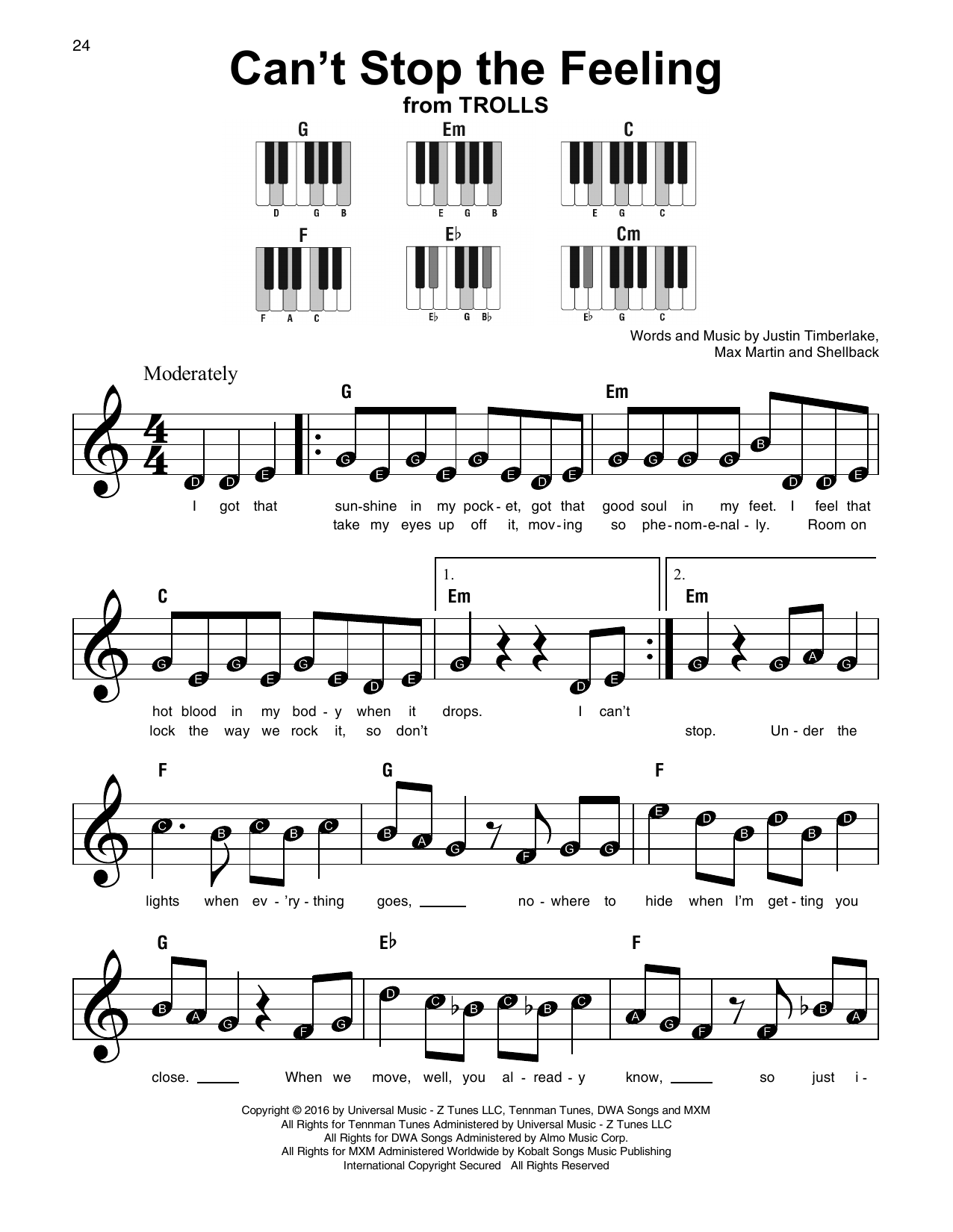 Can't Stop The Feeling Sheet Music