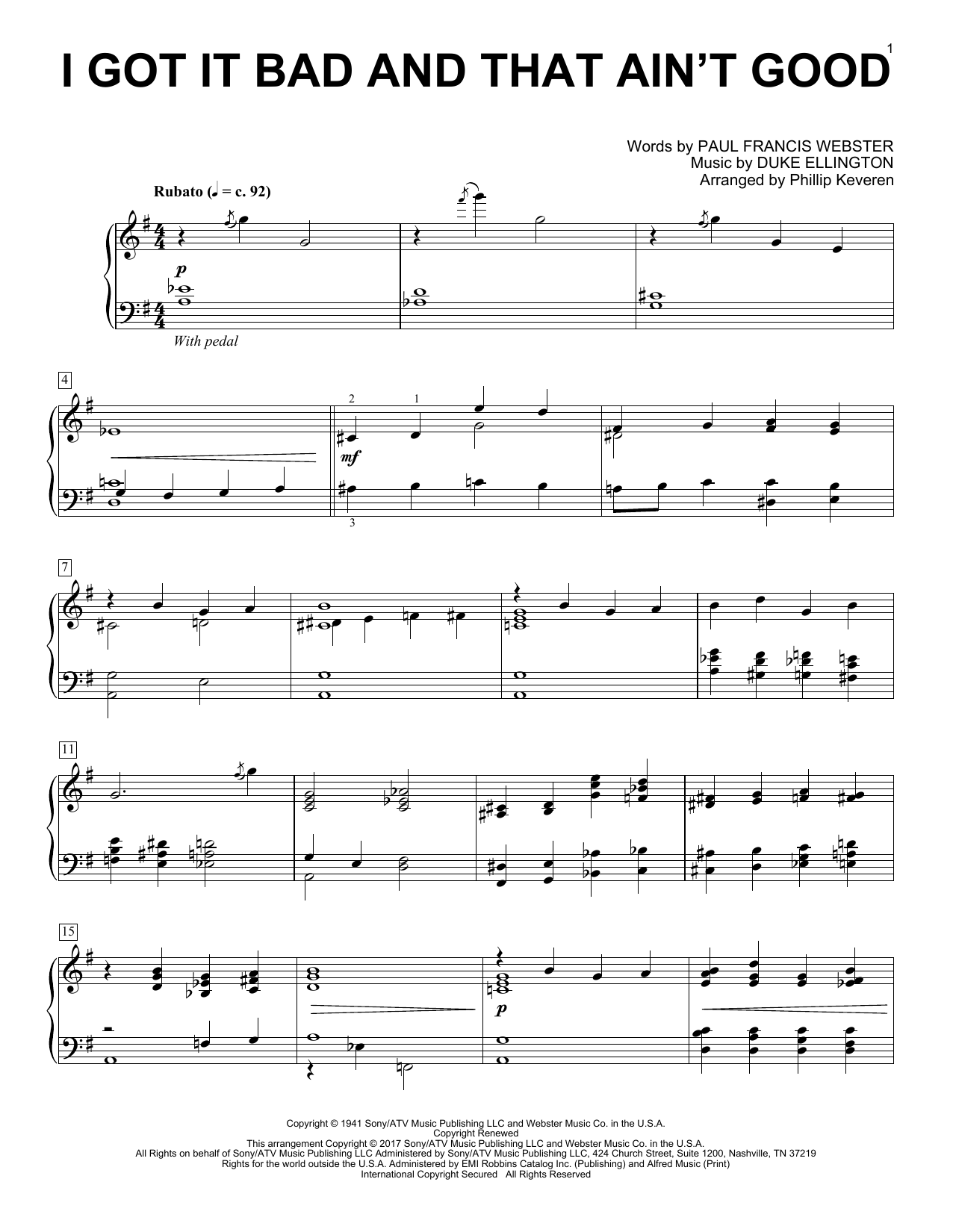 I Got It Bad And That Ain't Good (arr. Phillip Keveren) (Piano Solo)