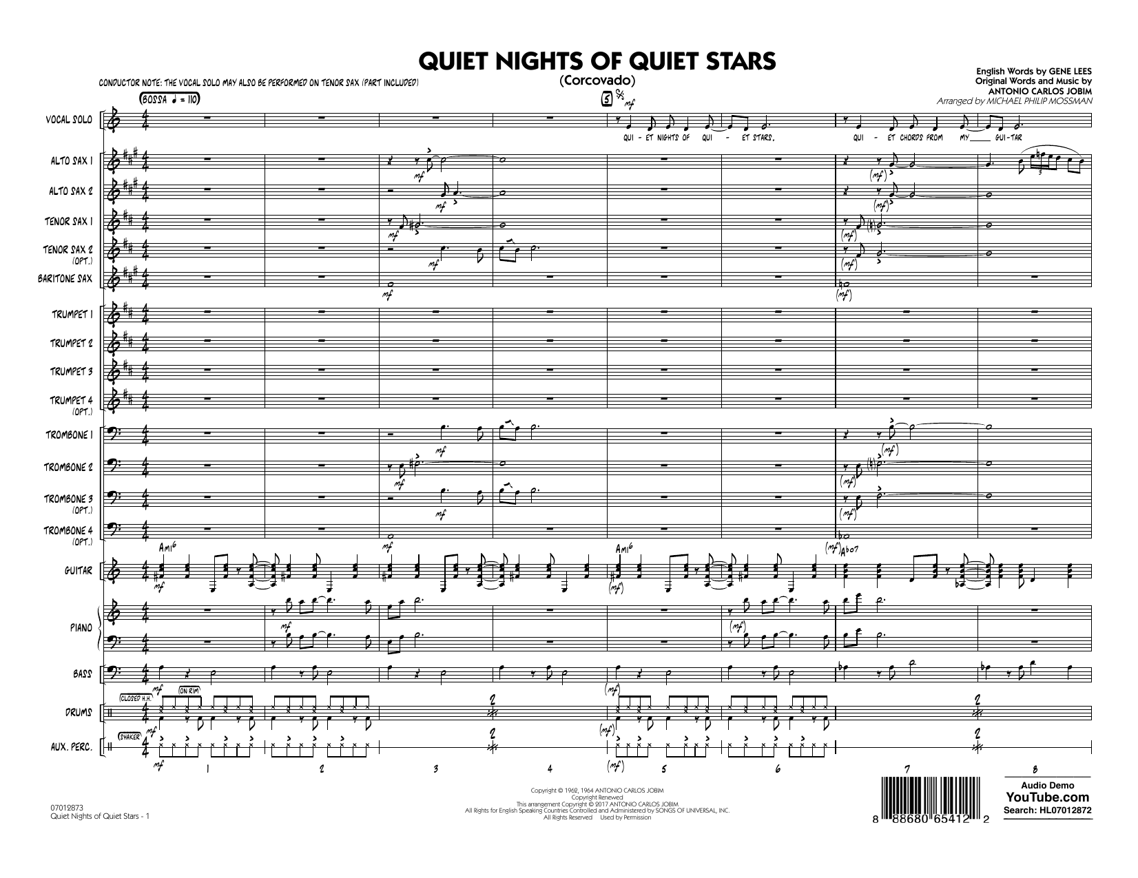 Quiet Nights of Quiet Stars (Corcovado) (COMPLETE) sheet music for jazz band by Antonio Carlos Jobim, Andy Williams and Michael Philip Mossman. Score Image Preview.
