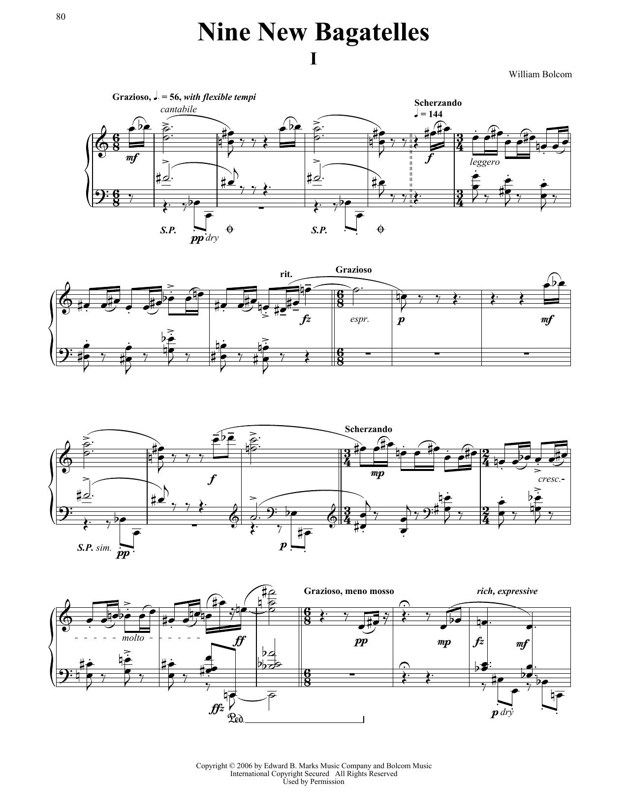 Partition piano Nine New Bagatelles de William Bolcom - Piano Solo