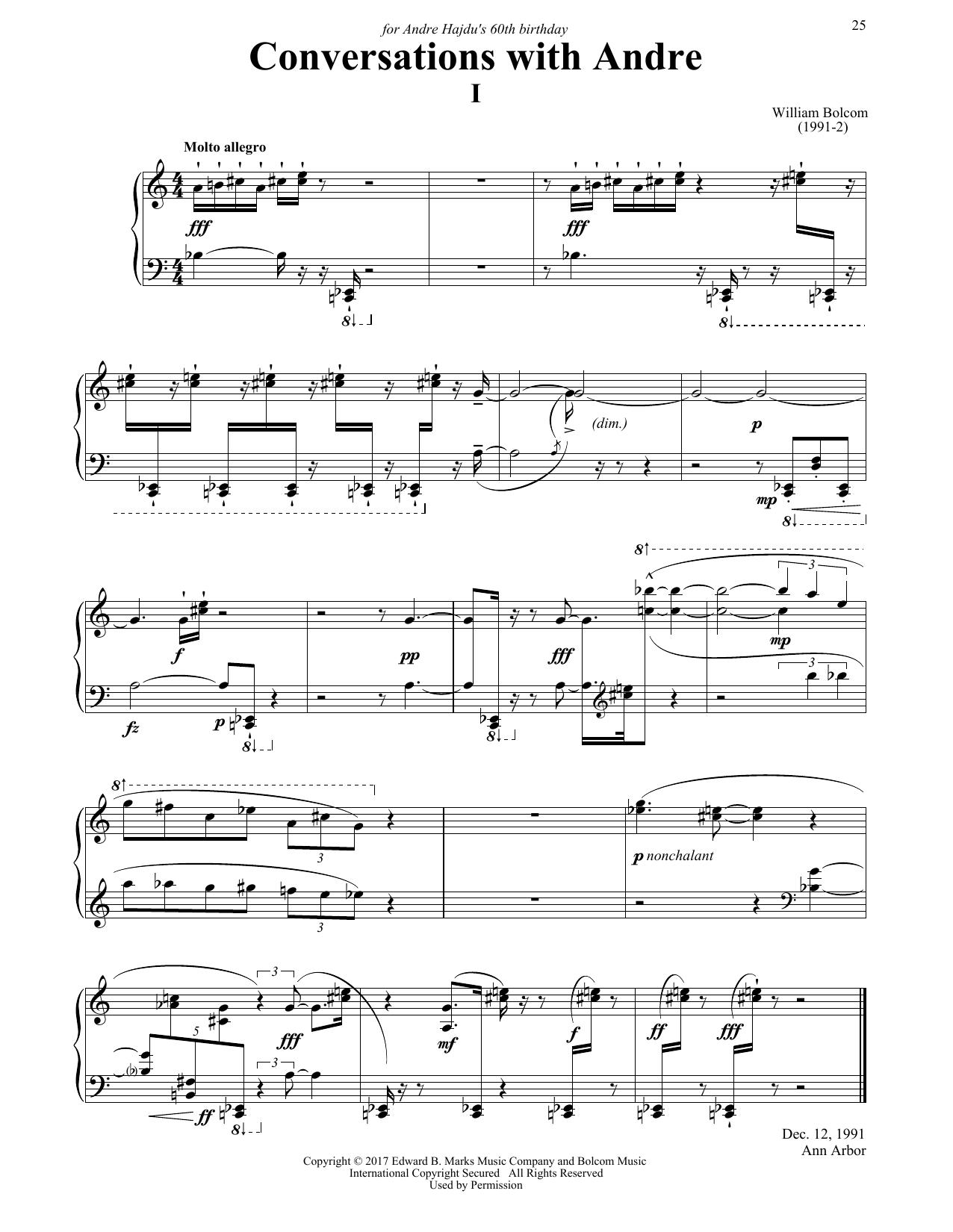 Partition piano Conversations with Andre de William Bolcom - Piano Solo