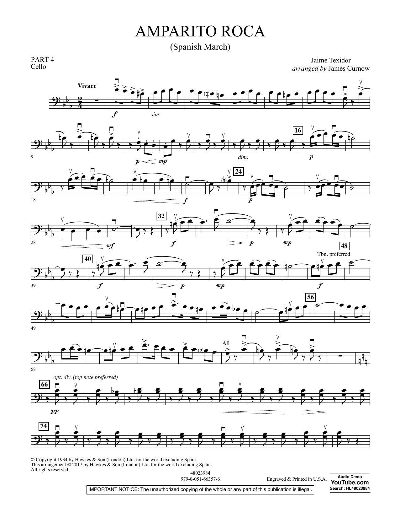 Amparito Roca (Spanish March) - Pt.4 - Cello Sheet Music