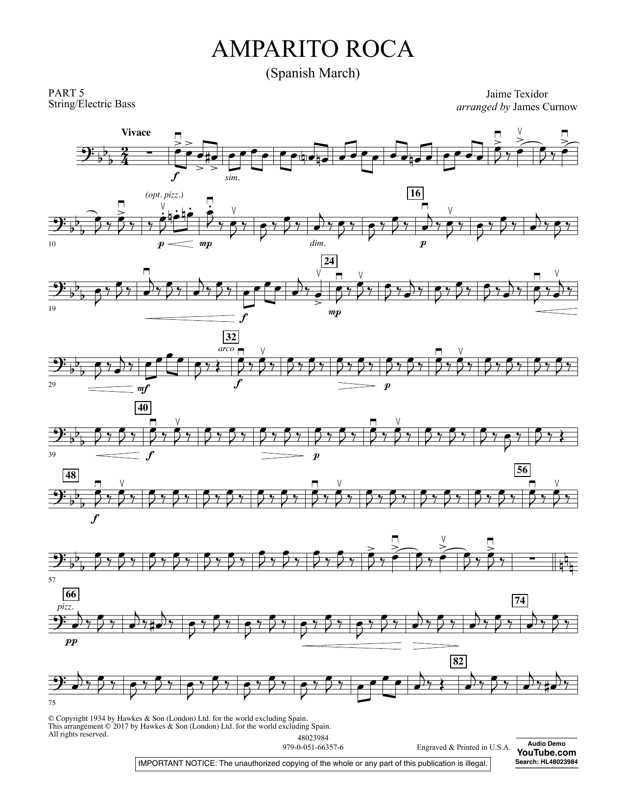 Amparito Roca (Spanish March) - Pt.5 - String/Electric Bass Sheet Music