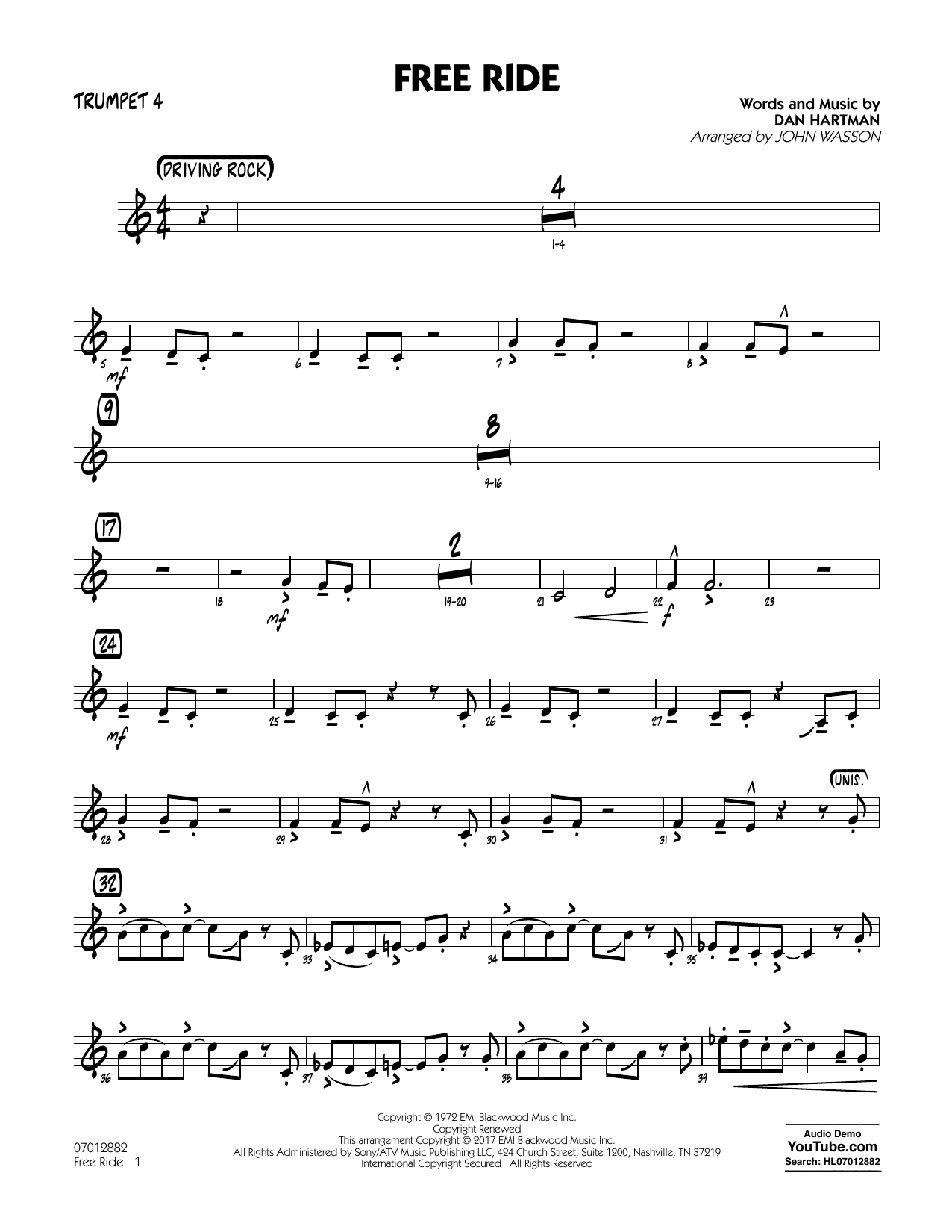 Free Ride - Trumpet 4 Sheet Music