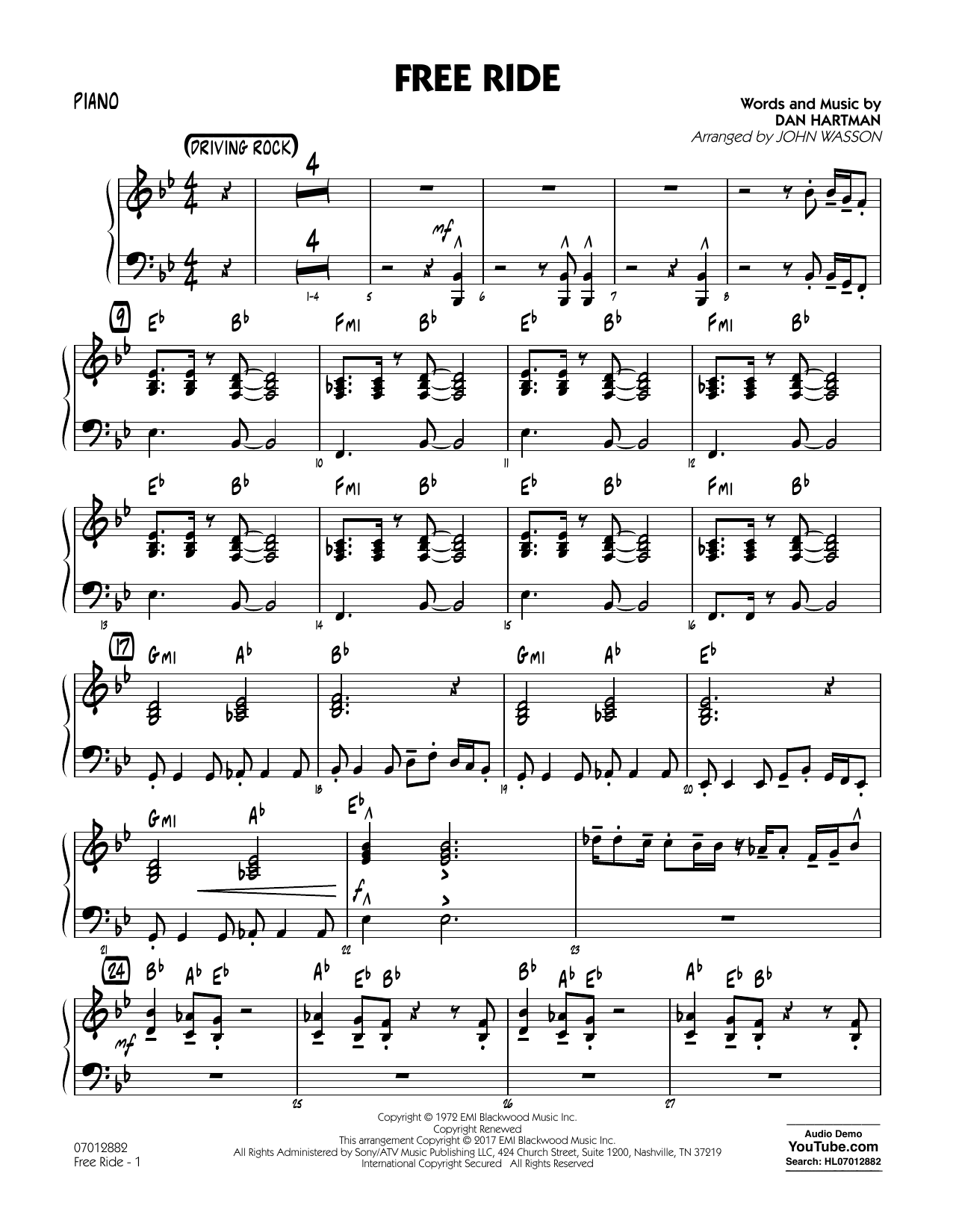 Free Ride - Piano Sheet Music