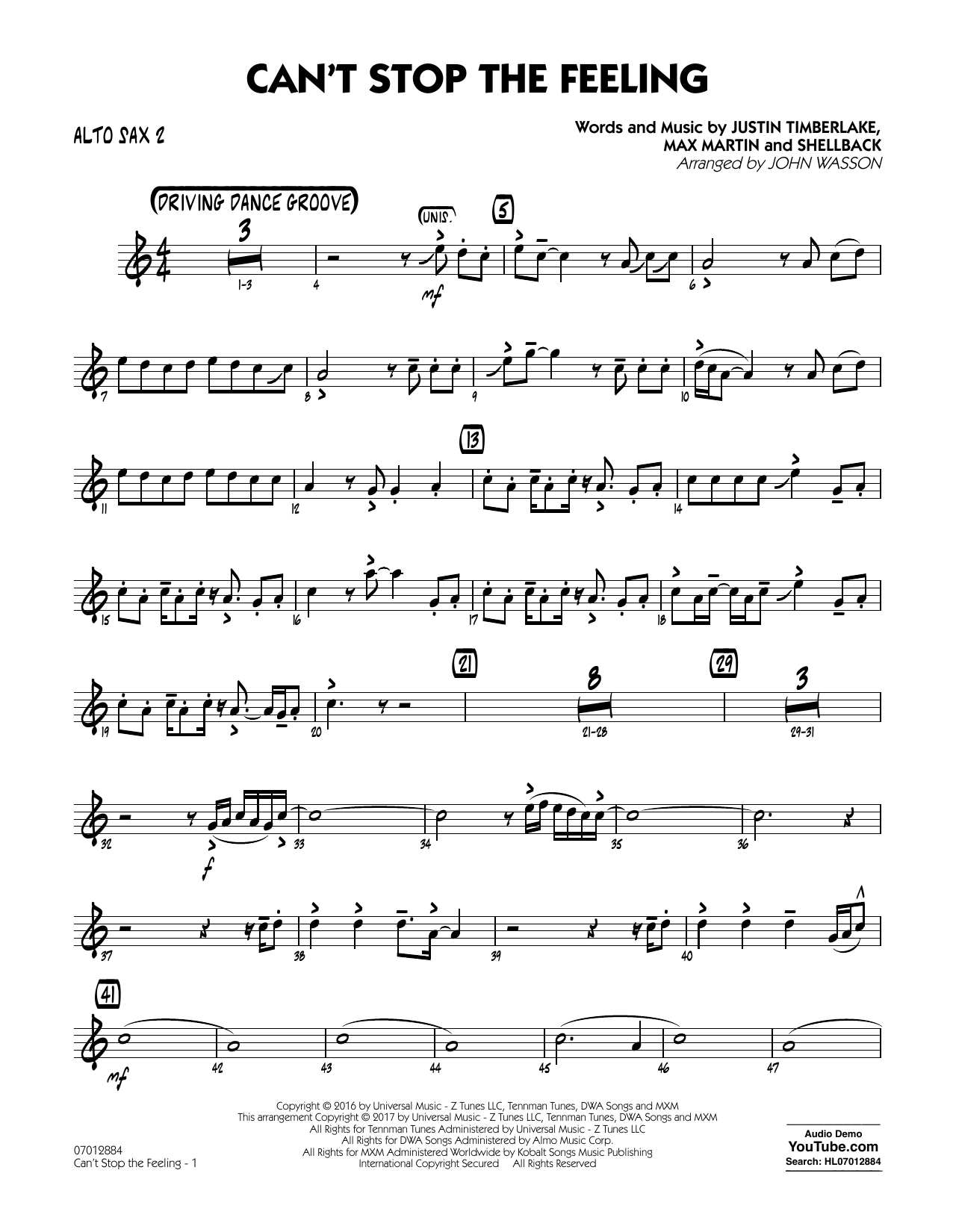 Can't Stop the Feeling - Alto Sax 2 Sheet Music