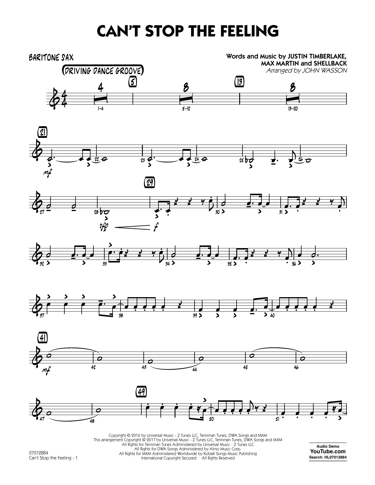 Can't Stop the Feeling - Baritone Sax Sheet Music