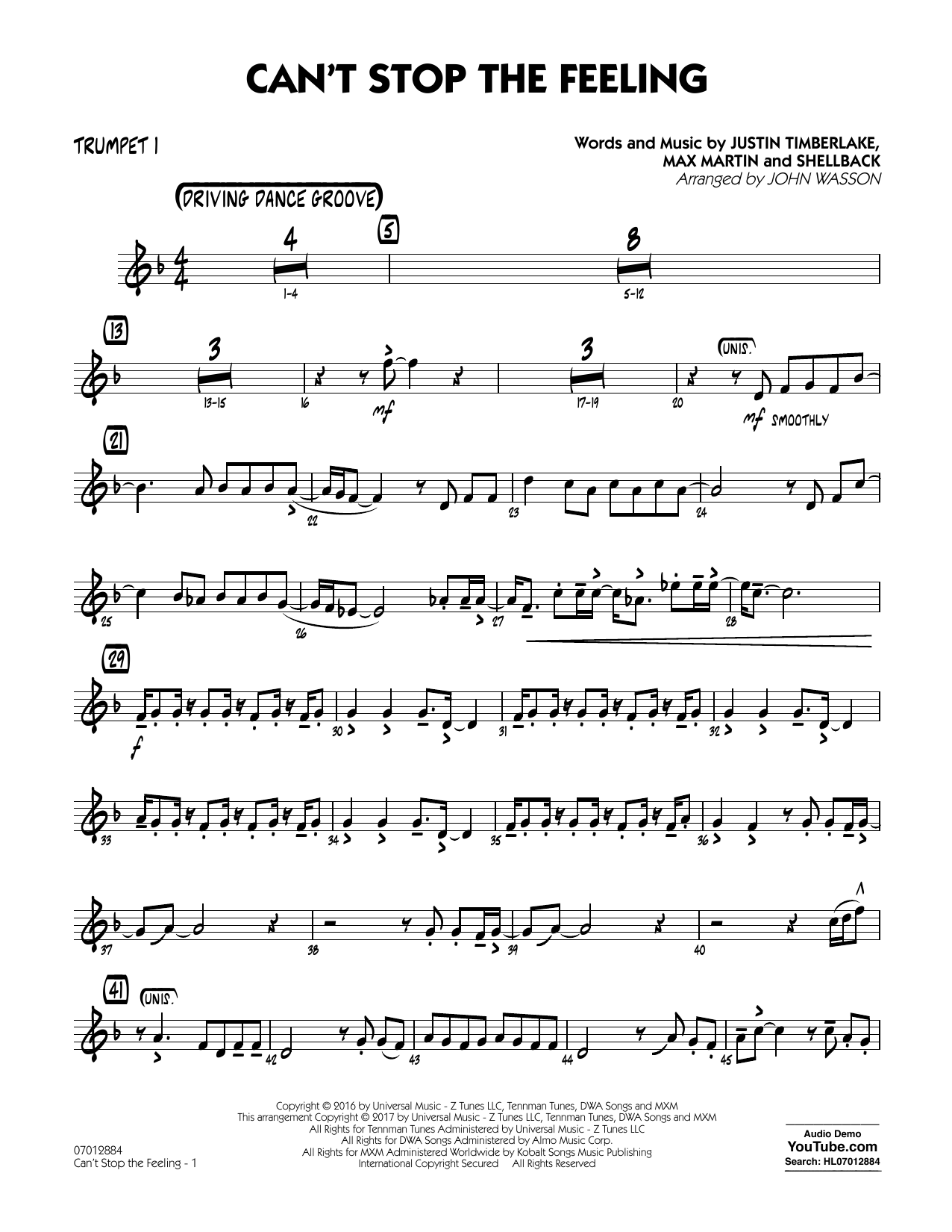 Can't Stop the Feeling - Trumpet 1 Sheet Music