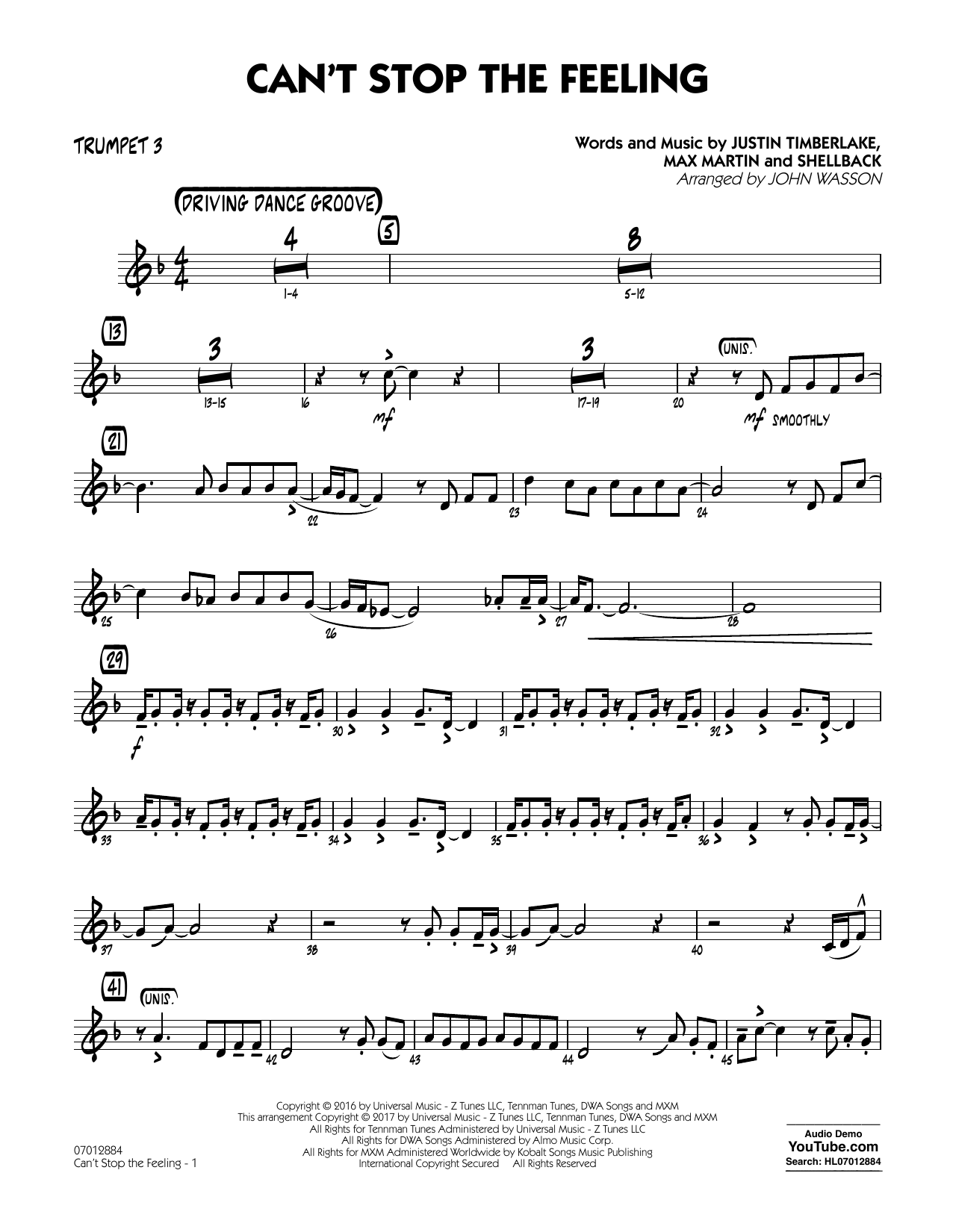 Can't Stop the Feeling - Trumpet 3 Sheet Music