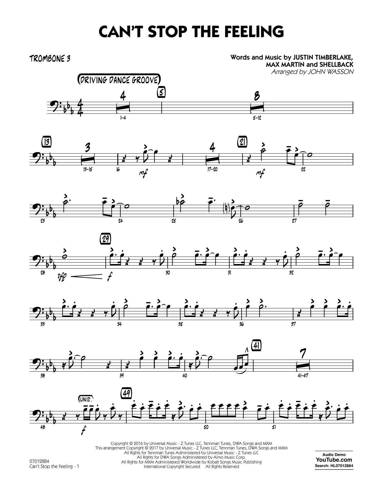 Can't Stop the Feeling - Trombone 3 Sheet Music
