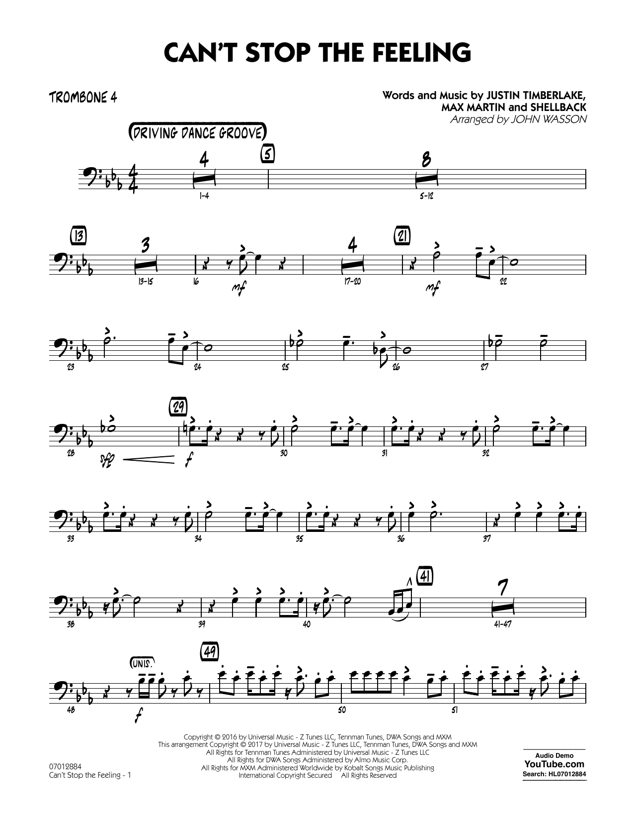 Can't Stop the Feeling - Trombone 4 Sheet Music