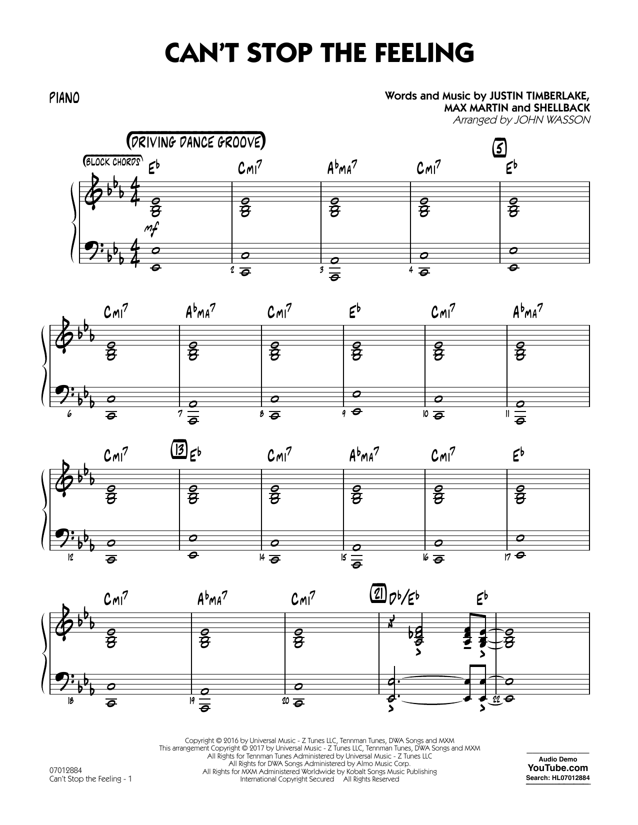 Can't Stop the Feeling - Piano Sheet Music