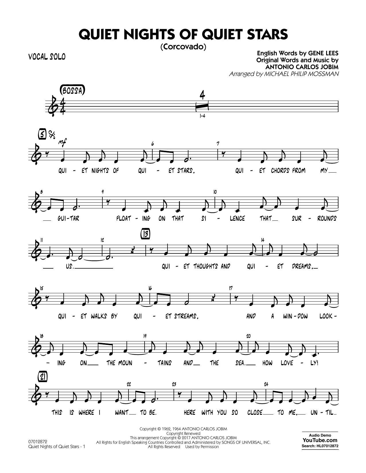 Quiet Nights of Quiet Stars (Corcovado) - Vocal Solo Sheet Music