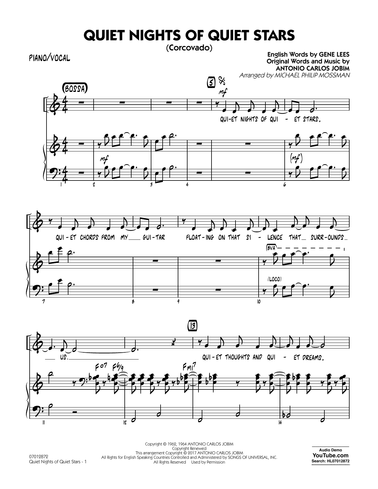 Quiet Nights of Quiet Stars (Corcovado) - Piano/Vocal Sheet Music