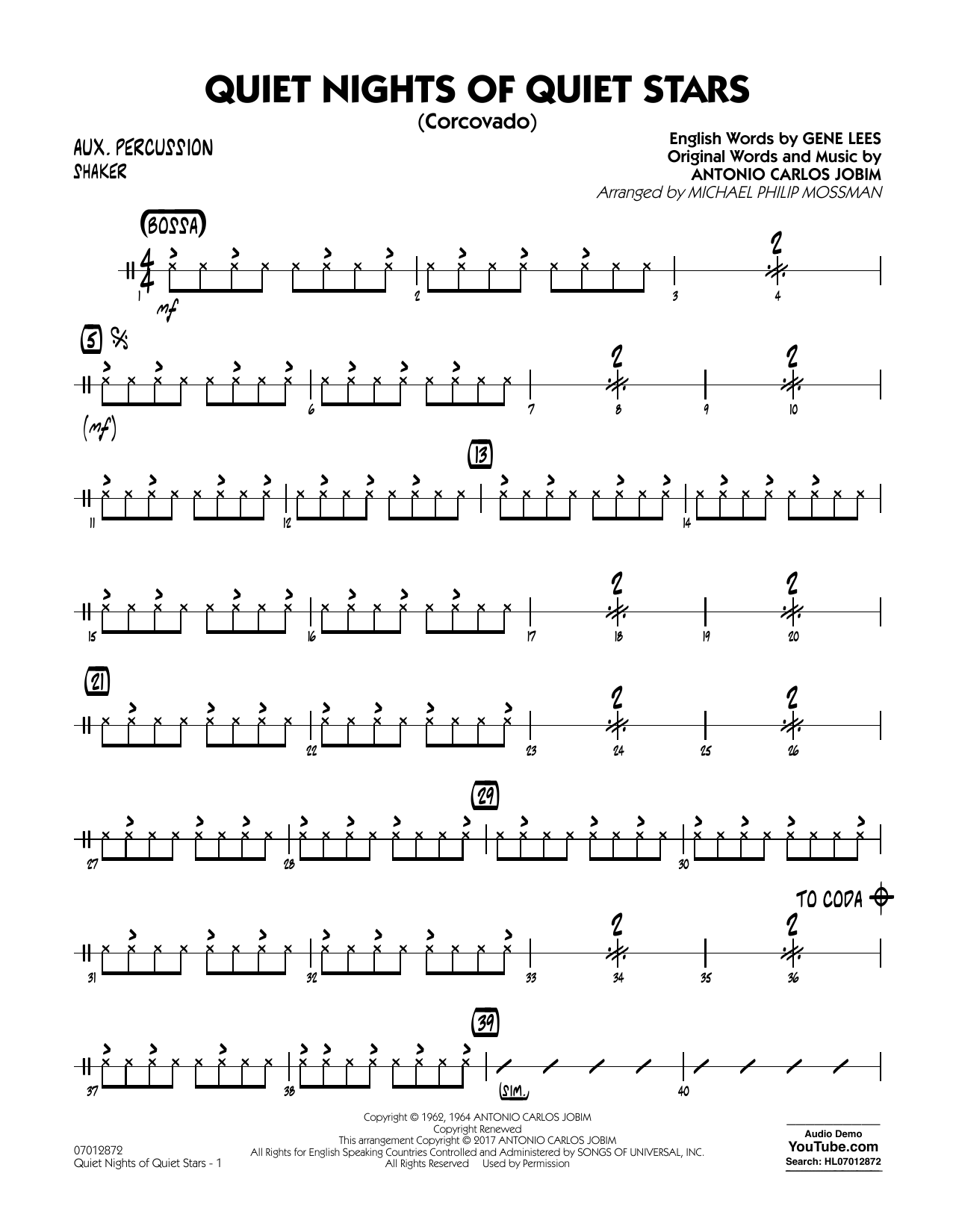 Quiet Nights of Quiet Stars (Corcovado) - Aux. Percussion Sheet Music