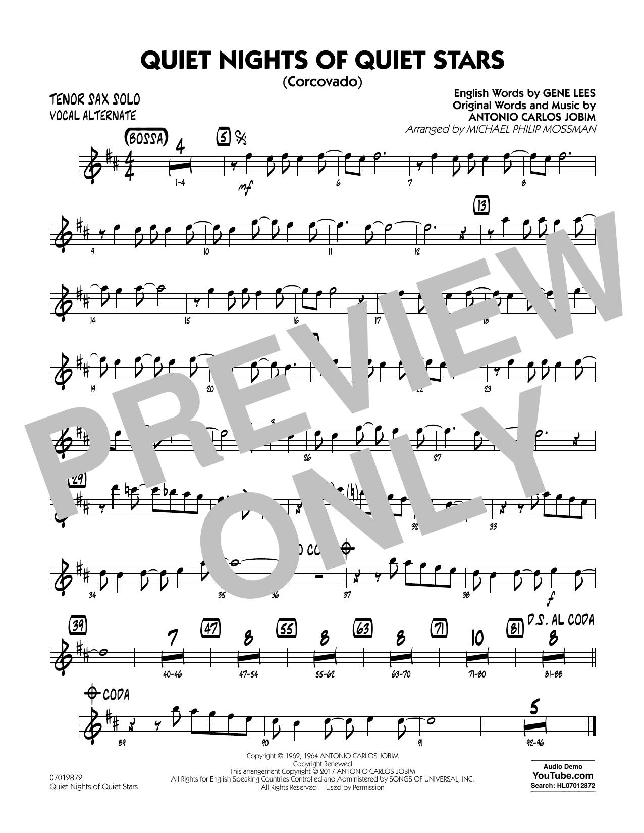 Quiet Nights of Quiet Stars (Corcovado) - Tenor Sax Solo (Vocal Alt) Sheet Music