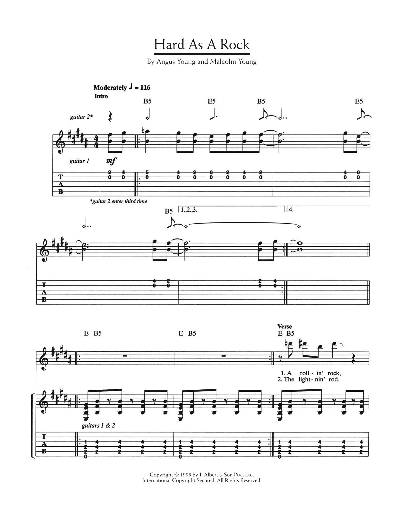Hard As A Rock Sheet Music