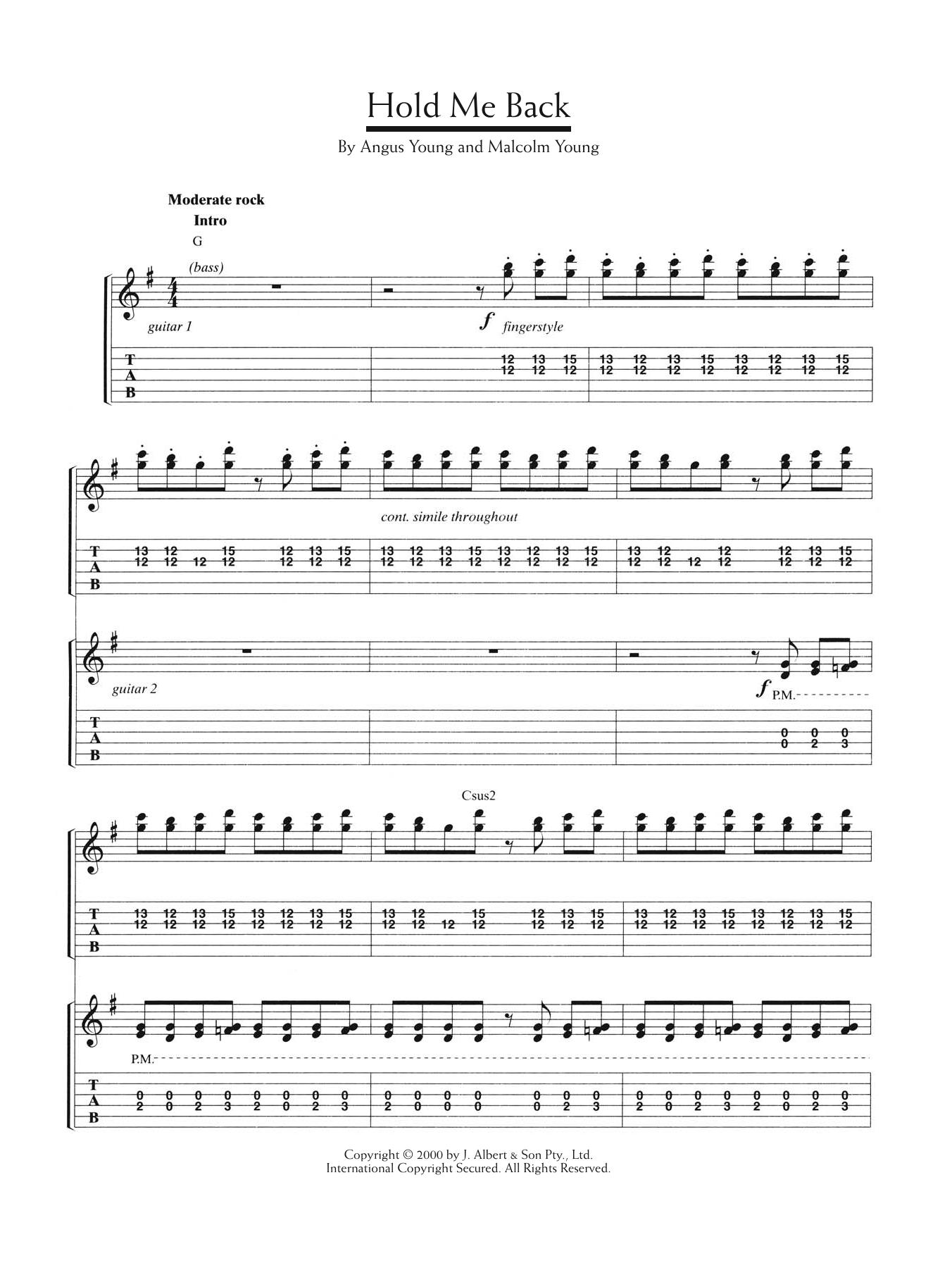 Hold Me Back Sheet Music