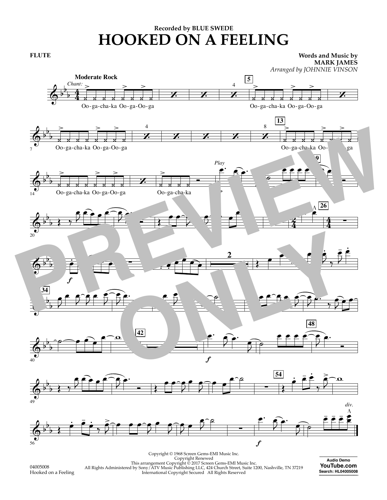 Hooked on a Feeling - Flute Sheet Music