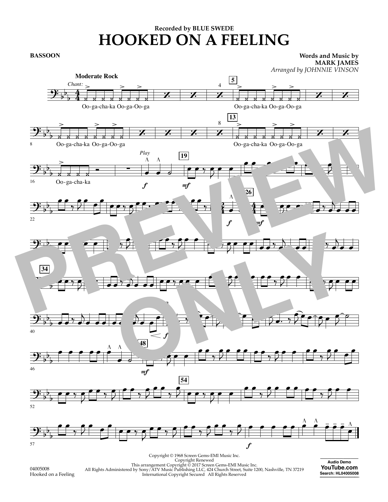 Hooked on a Feeling - Bassoon Partition Digitale